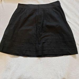 Ann Taylor LOFT Petite Black Cotton A-Line Skirt